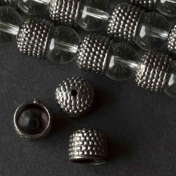 Gun Metal Colored Pewter 9x10mm Bumpy Bead Caps - approx. 8 inch strand - baseact-8046gm