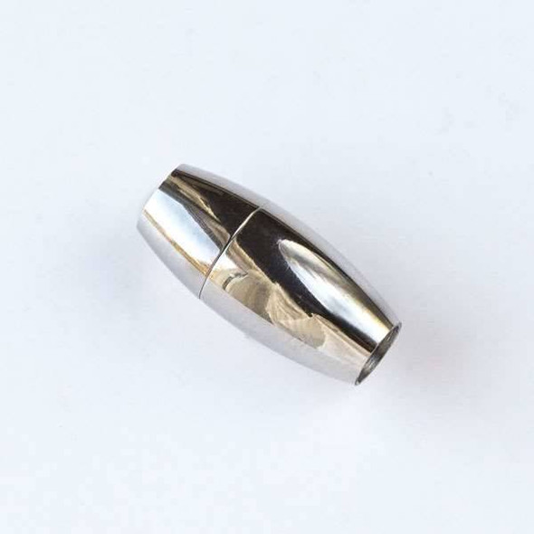Silver Stainless Steel 8x17mm Magnetic Rice Clasp with a 4mm Large Hole - 1 per bag