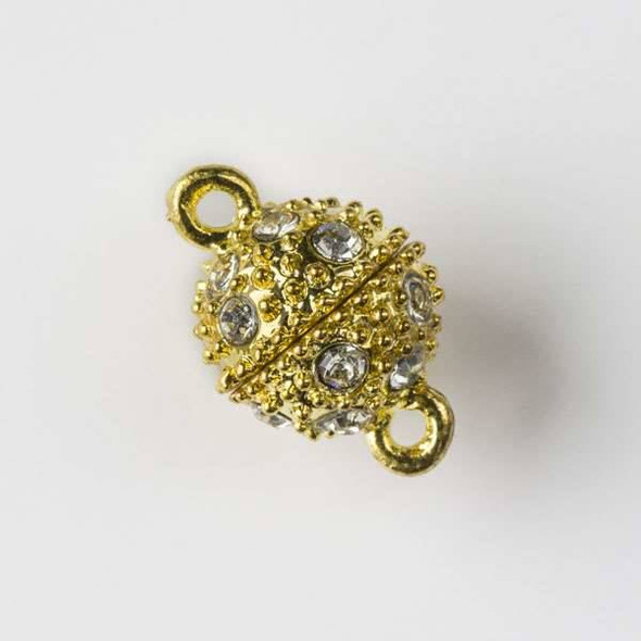 Gold Colored Pewter 10x16mm Magnetic Round Clasp with Crystals - 2 clasps per bag - baseaHD001g