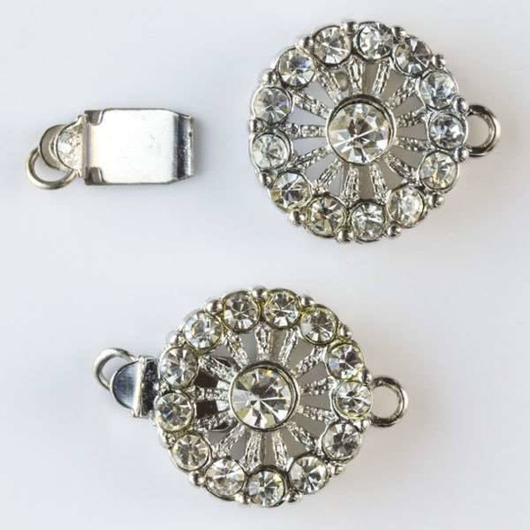 Silver Pewter 14x20mm Vintage Style Coin Clasp with Crystals - 2 clasps per bag - baseaHD005s