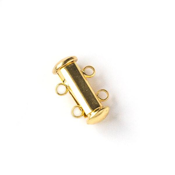Gold Colored Pewter 10x15mm Magnetic Double Strand Tube Clasp - 2 clasps per bag - baseaHD011g