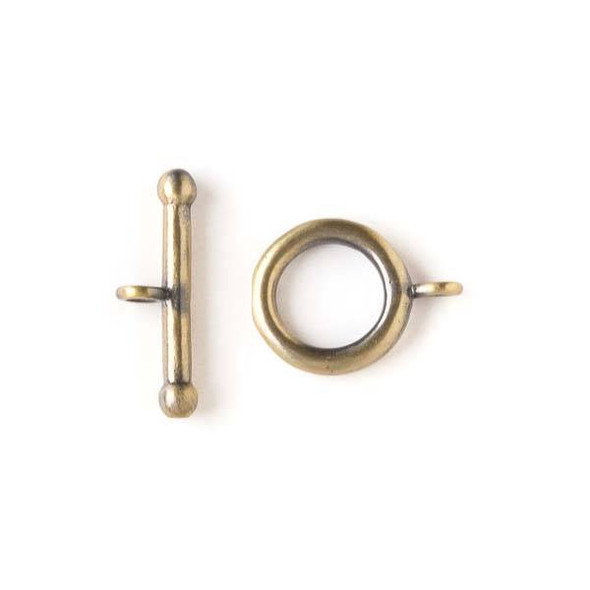 Brass 14x18mm Simple Toggle Clasp with a 7x22mm bar - 2 pairs per bag - baseaK112vb