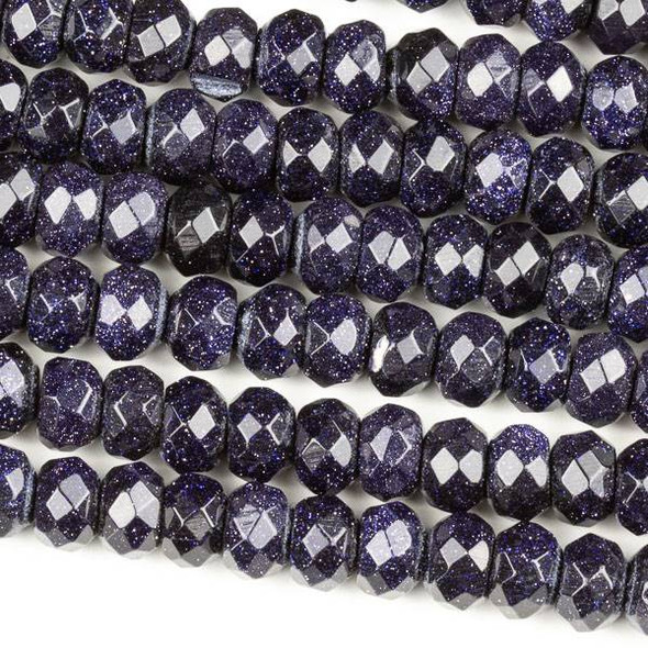 Blue Goldstone 5x8mm Faceted Rondelle Beads - 7.5 inch strand