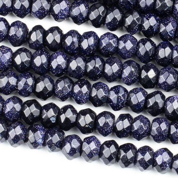 Blue Goldstone 5x8mm Faceted Rondelle Beads - 15 inch strand