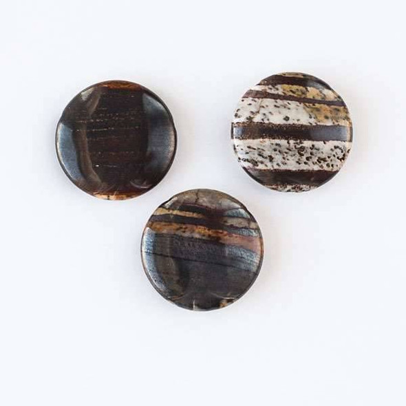 Brown Iron Zebra Jasper 30mm Top Drilled Coin Pendant