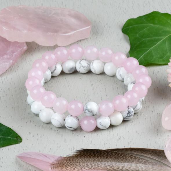 Rose Quartz & Howlite Distance Bracelets Kit - bkit-011