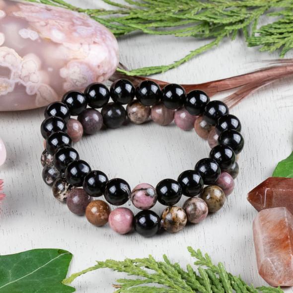 Rhodonite & Onyx Distance Bracelets Kit - bkit-012