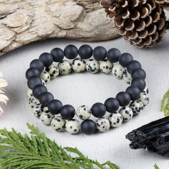 Dalmatian Jasper & Matte Onyx Distance Bracelets Kit - bkit-013