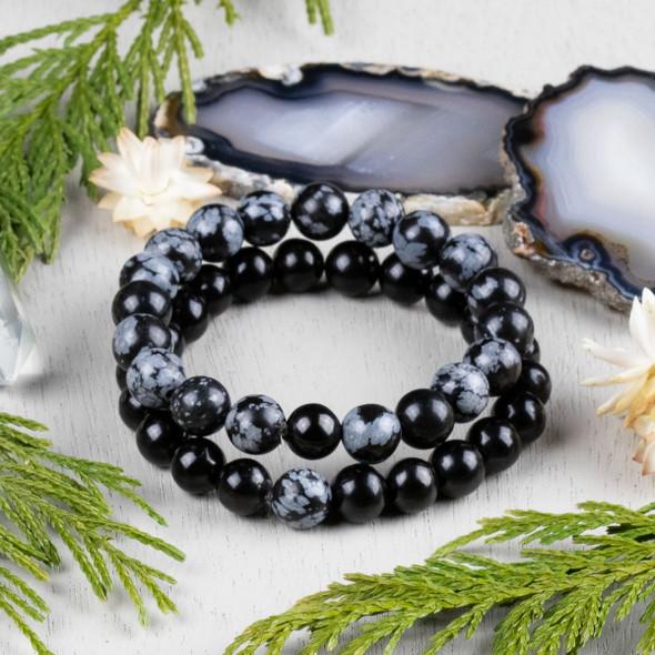 Snowflake Obsidian & Jet Distance Bracelets Kit - bkit-016
