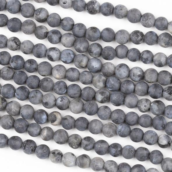 Matte Black Labradorite/Larvikite 6mm Round Beads - 15 inch strand