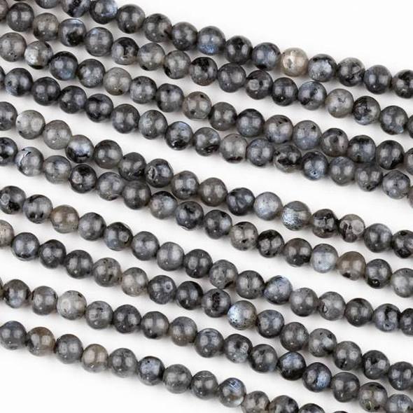 Black Labradorite/Larvikite 4mm Round Beads - 15.5 inch strand
