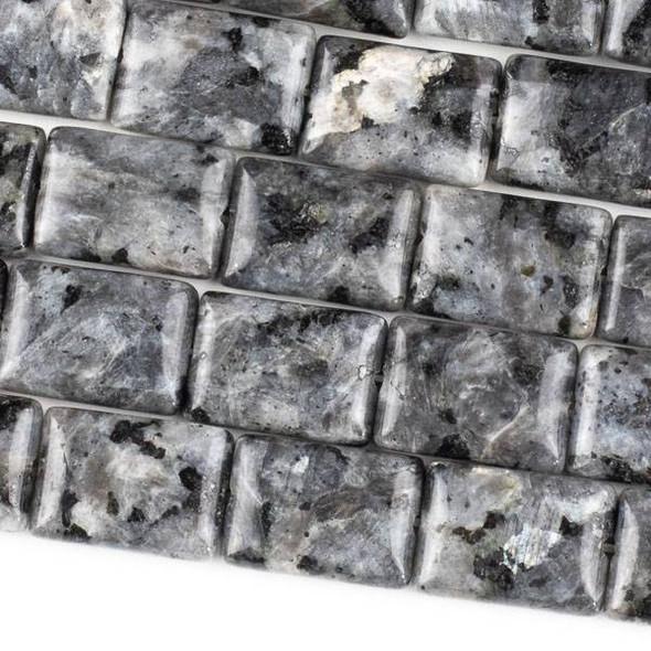 Black Labradorite/Larvikite (Natural Gemstone) 13x18mm Rectangle Beads - 15 inch strand