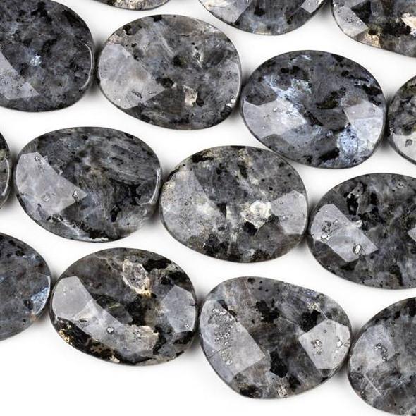 Black Labradorite/Larvikite 30x40mm Faceted Slab Beads - 8.5 inch strand