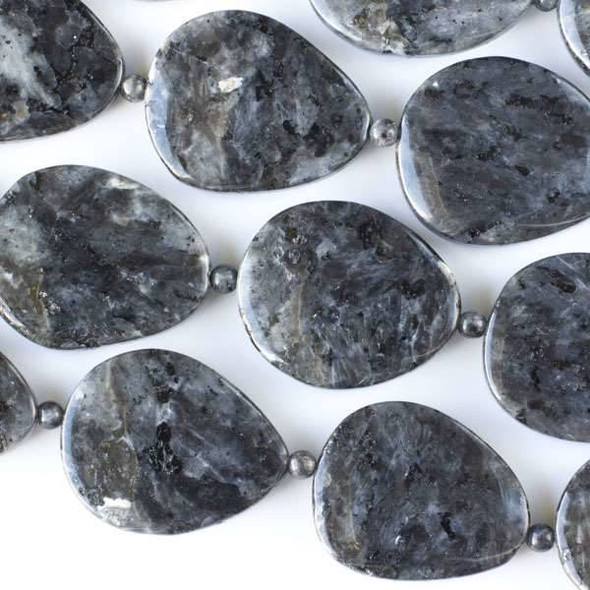 Black Labradorite/Larvikite 23x28-30x35mm Slabs alternating with 4mm Rounds - approx. 8 inch strand