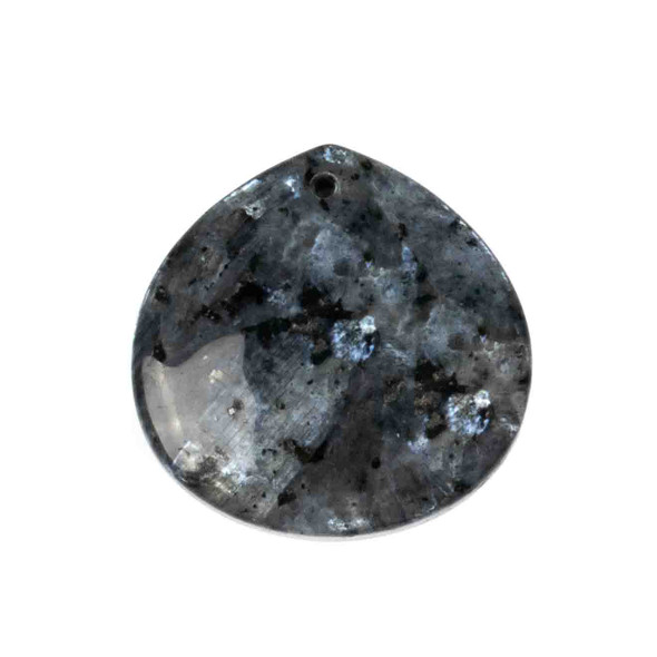 Black Labradorite/Larvikite 40mm Top Front to Back Drilled Almond Pendant with a Flat Back - 1 per bag