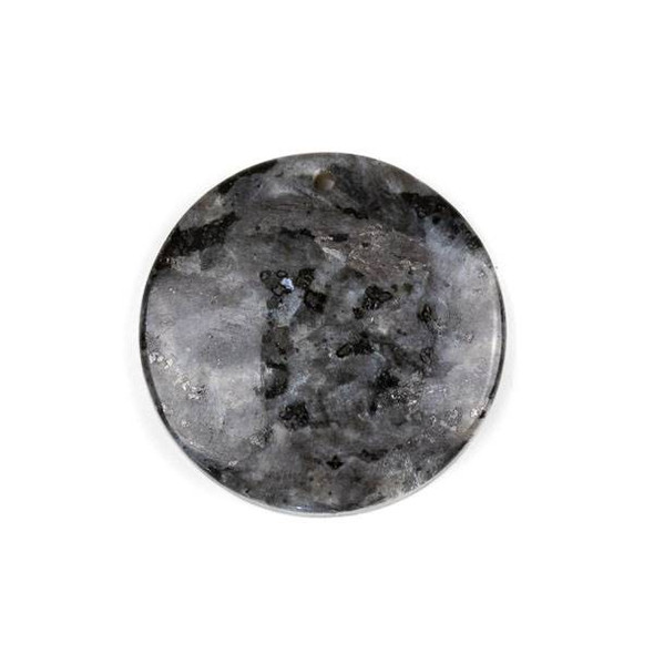 Black Labradorite/Larvikite 40mm Top Front to Back Drilled Coin Pendant with a Flat Back