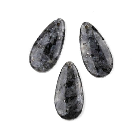 Black Labradorite/Larvikite 20x40mm Teardrop Pendant - 1 per bag
