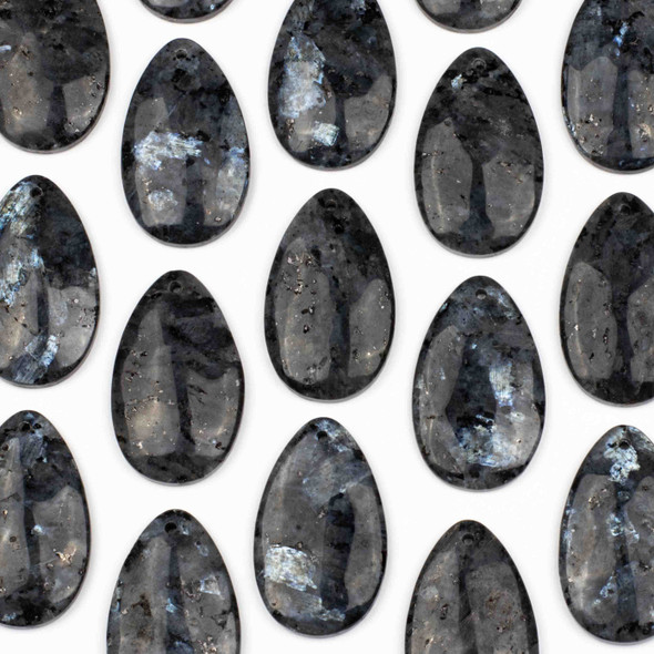 Black Labradorite/Larvikite 30x50mm Top Front to Back Drilled Teardrop Pendant with a Flat Back - 1 per bag