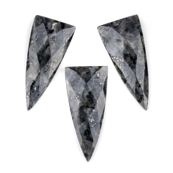Black Labradorite/Larvikite 25x55mm Faceted Top Drilled Shield Pendant - 1 per bag