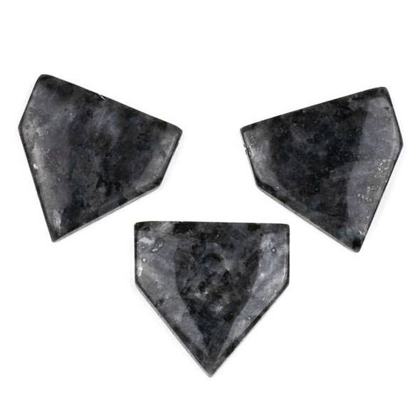 Black Labradorite/Larvikite 38x40mm Top Drilled Flag Pendant with a Flat Back - 1 per bag