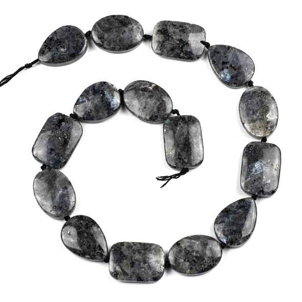 Black Labradorite/Larvikite Alternating and Knotted 18x25mm Ovals, Rectangles, and Teardrops