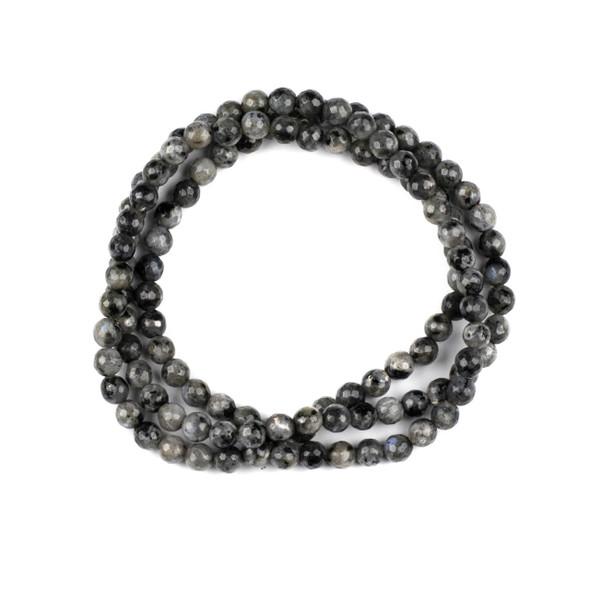 Black Labradorite/Larvikite 6mm Mala Faceted Round Beads - 29 inch strand