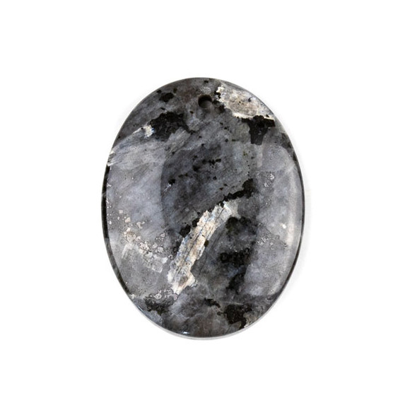 Black Labradorite/Larvikite 35x45mm Top Front to Back Drilled Oval Pendant with a Flat Back - 1 per bag