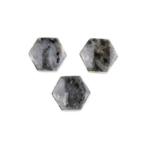 Black Labradorite/Larvikite 16x18mm Top Drilled Hexagon Pendant - 1 per bag