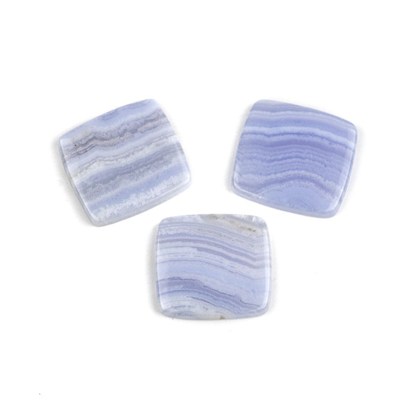 Blue Lace Agate 4mm thick 22x24mm Rectangle Cabochon - 1 per bag