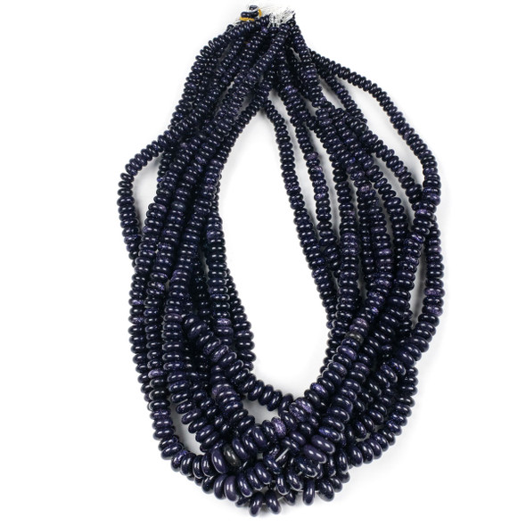 Blue Goldstone 4-10mm Graduated Rondelle Beads - 15.5 inch strand