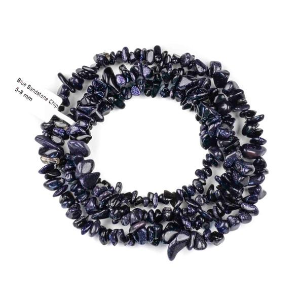 "Blue Goldstone 5-8mm Chip Beads - 34"" circular strand"