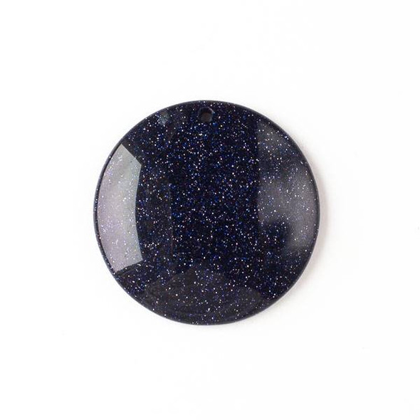 Blue Goldstone 40mm Top Front to Back Drilled Coin Pendant with a Flat Back - 1 per bag