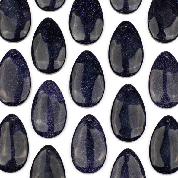 Blue Goldstone 30x50mm Top Front to Back Drilled Teardrop Pendant with a Flat Back - 1 per bag