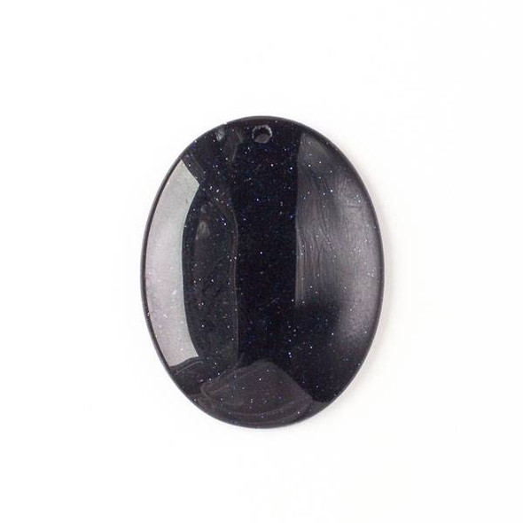 Blue Goldstone 35x45mm Top Front to Back Drilled Oval Pendant with a Flat Back