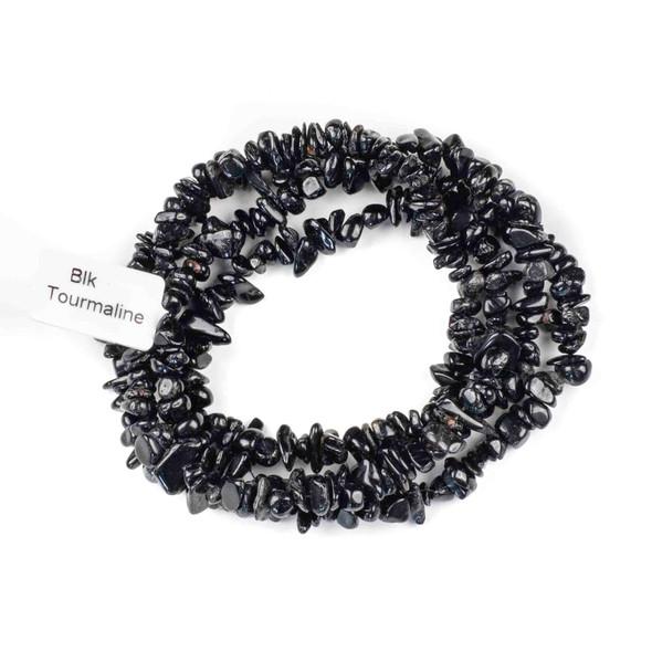 "Black Tourmaline 5-8mm Chip Beads - 34"" circular strand"
