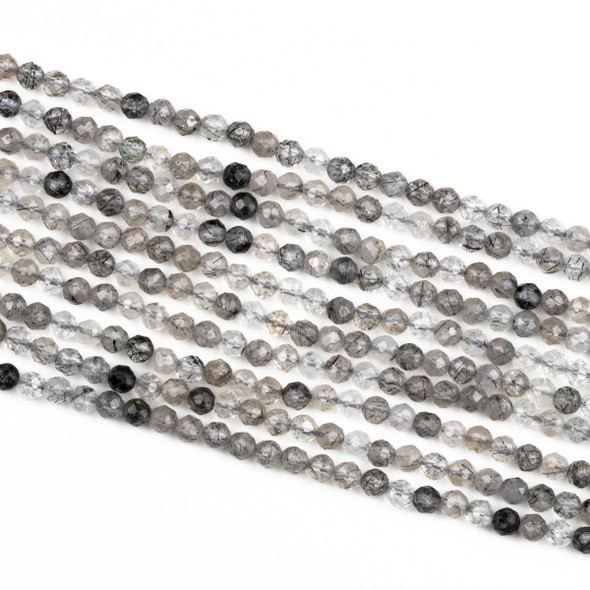 Black Tourmalinated Quartz 3mm Faceted Round Beads - 15 inch strand