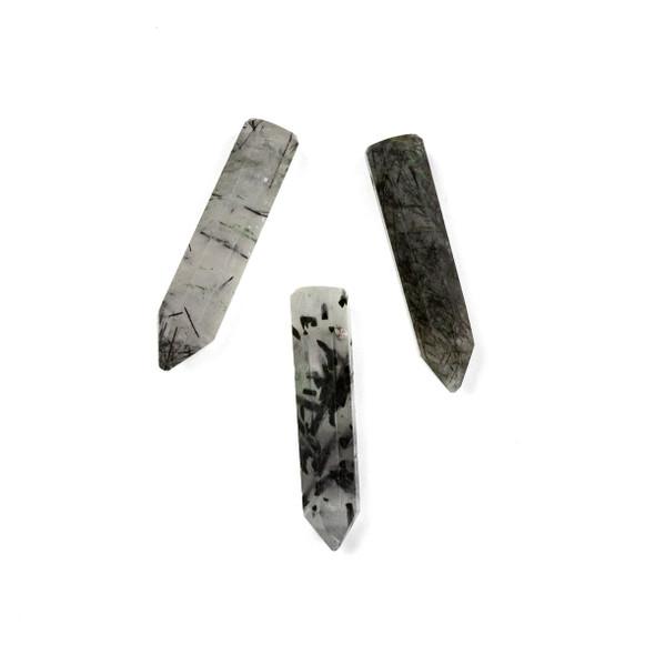Black Tourmalinated Quartz approximately 6x20-25mm 8-Sided Petite Point Pendant - 1 per bag