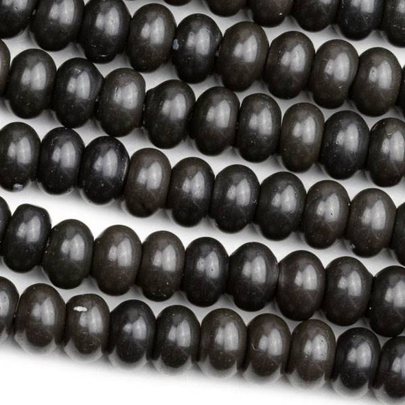 Black Obsidian 5x8mm Rondelle Beads - 15 inch strand