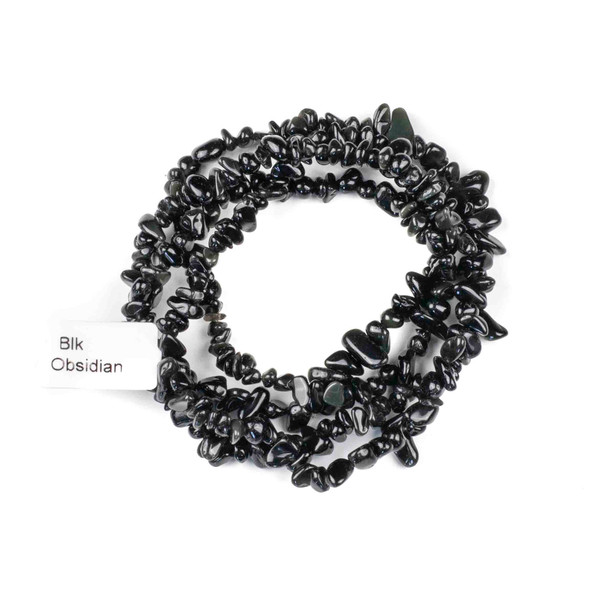 "Black Obsidian 5-8mm Chip Beads - 34"" circular strand"