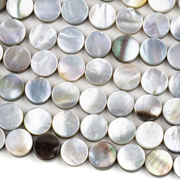Black Lip Shell 10mm Coin Beads - 16 inch strand