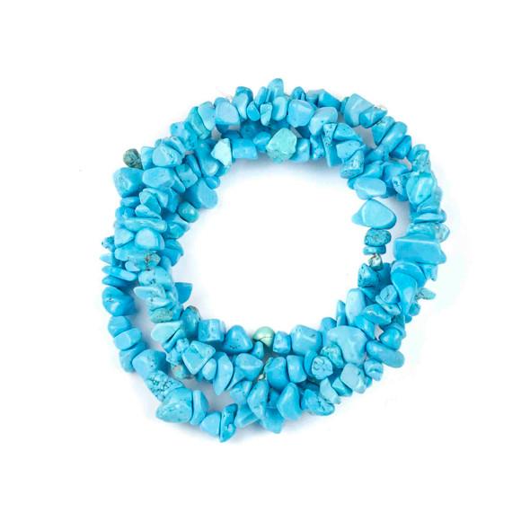 "Blue Howlite 5-8mm Chip Beads - 34"" circular strand"