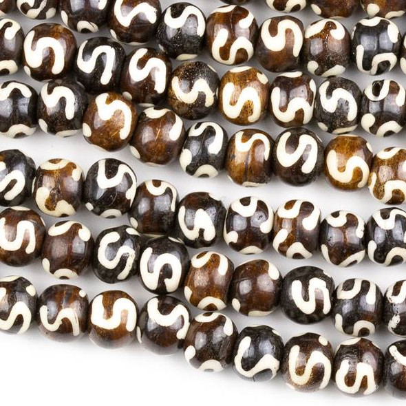 "Bone 8x10mm Brown Irregular Round Beads with an ""S"" Pattern and approximately 2.5mm Large Hole - approx. 8 inch strand"