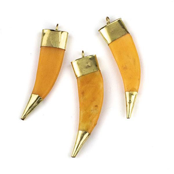 Bone 16x68mm Peachy Orange Flat Horn Shaped Pendant with Gold Plated Brass Cap and Tip - 1 per bag