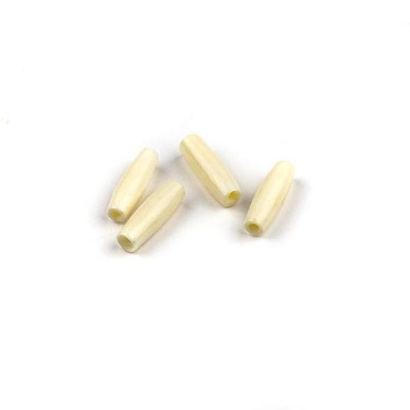 Bone .75 inch White Hairpipe Beads - 4 per bag