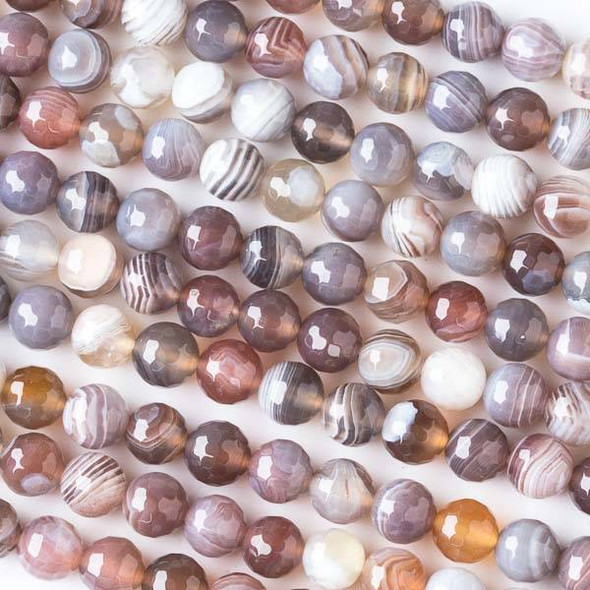 Botswana Agate 6mm Faceted Round Beads - 15 inch strand