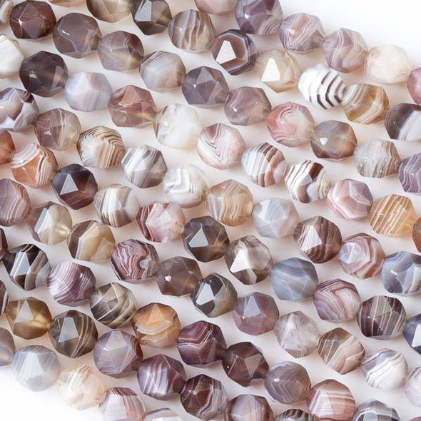 Botswana Agate 7-8mm Simple Faceted Star Cut Beads - 15 inch strand
