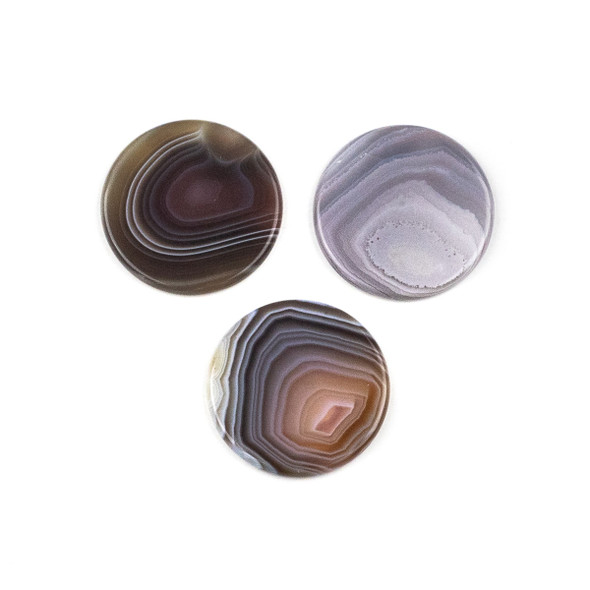 Botswana Agate 3mm thick x 30mm Coin Cabochon - 1 per bag