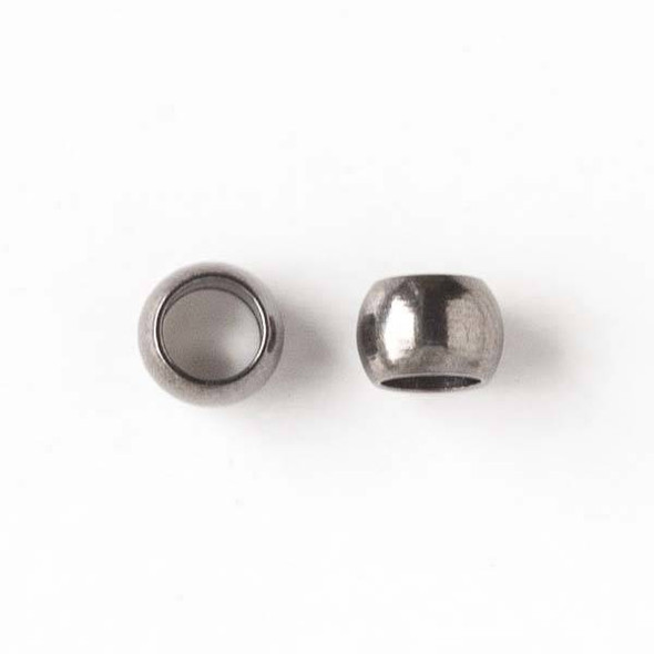 Gun Metal Colored Brass 6mm Rondelle Beads with a 4mm Large Hole - 50 per bag - brasro6lghole-50gm