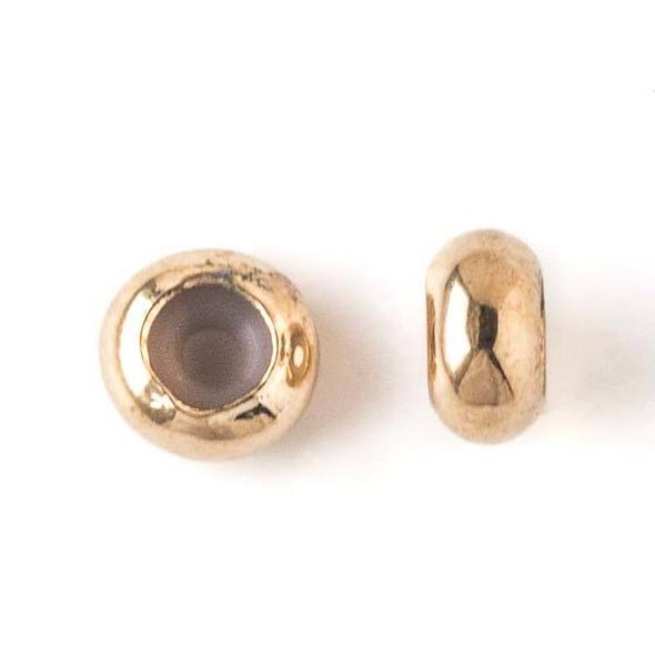 Gold Plated Brass 8mm Rondelle Slide Clasp - 12 per bag