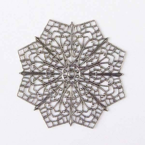 Vintage Silver Plating on Brass 64mm Filigree Star Component
